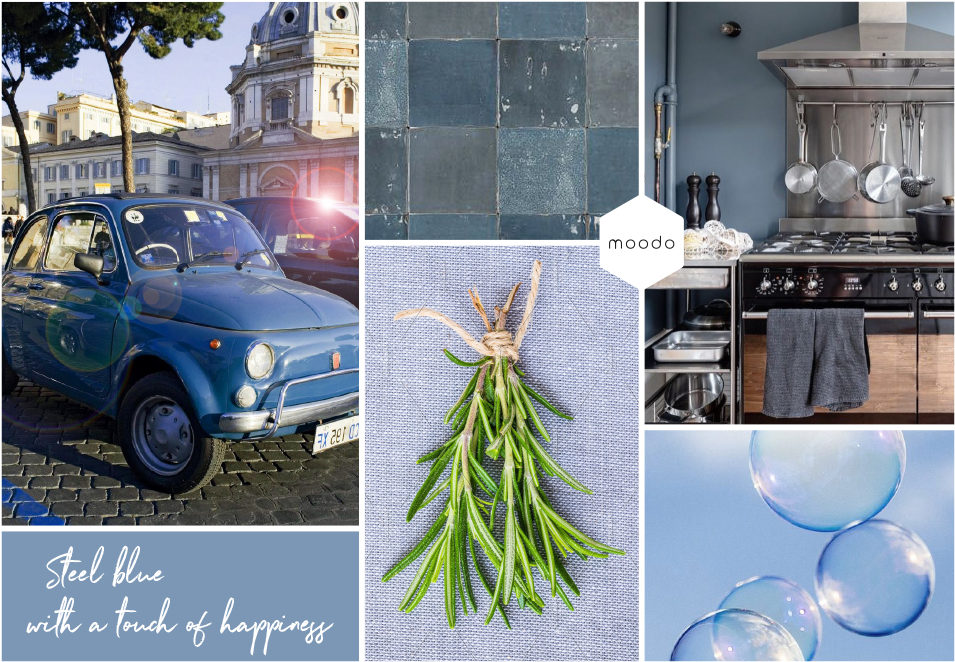Moodboard interieurontwerp Steelbleu with a touch of happiness