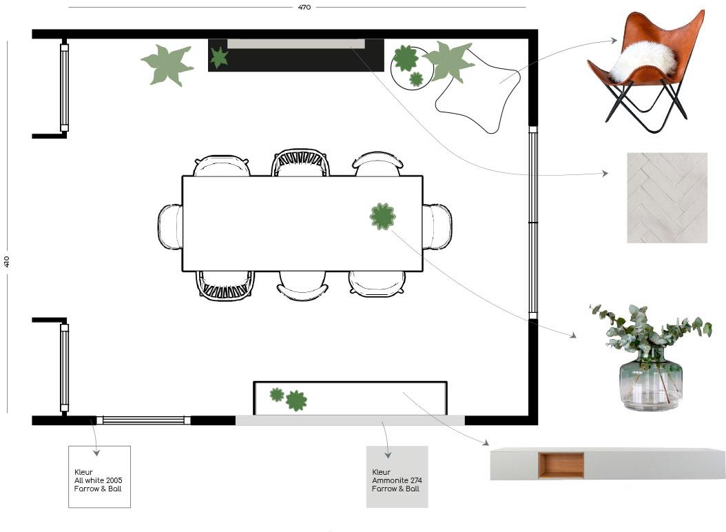 interieurdesign Scandinavisch monumentaal pand plattegrond